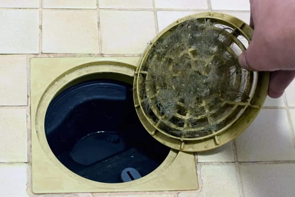 The shower drain