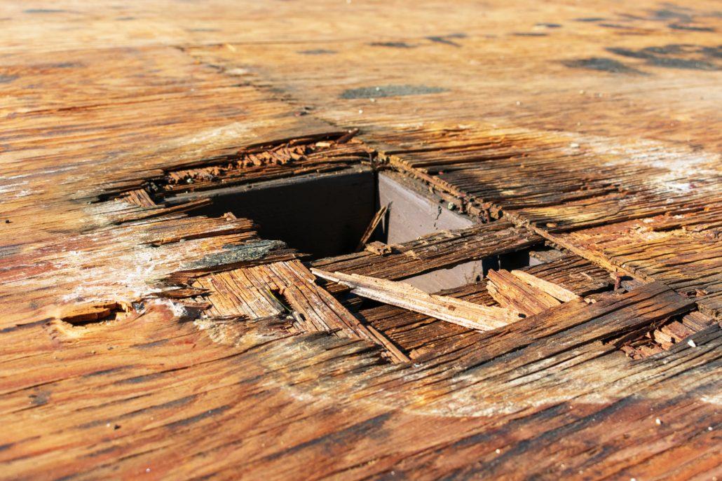 Roof leak through roof decking - rotting wood