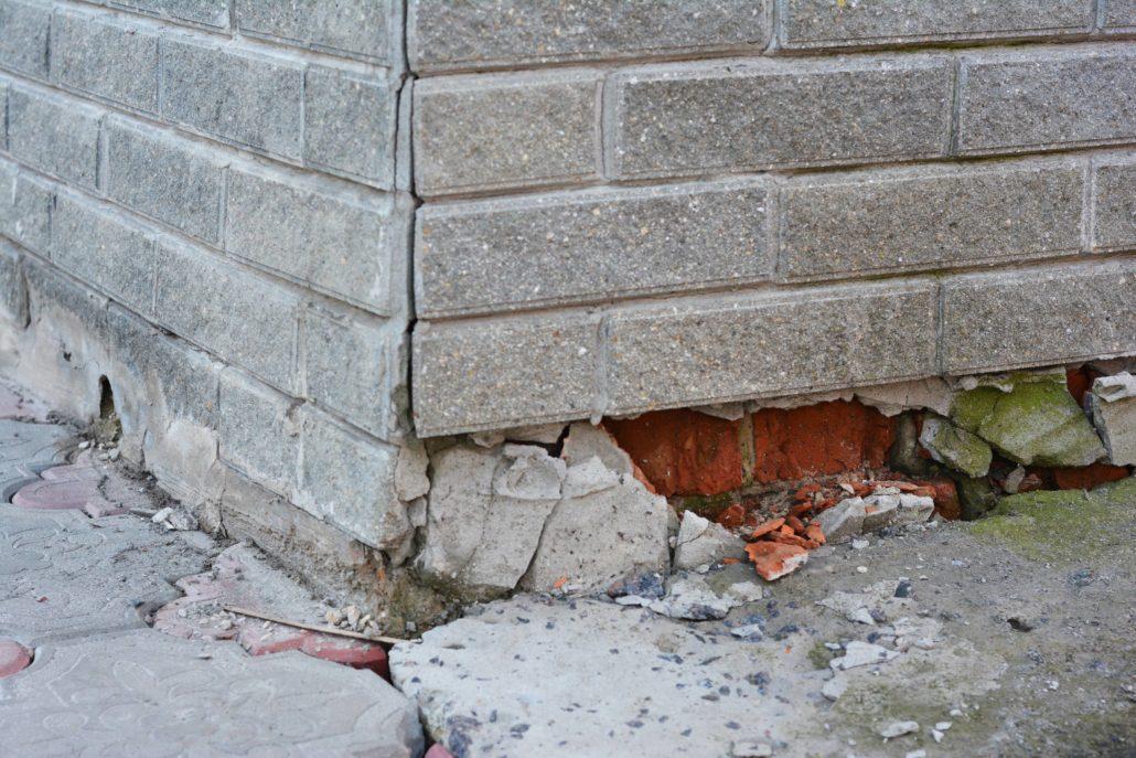 foundation damage to a brick home